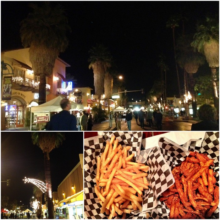 Thursday night downtown street fair, Holiday lights in Palm Springs, Frech fries!