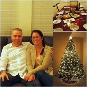 Diran & Christine, Remnants of our meal, Christmas tree!