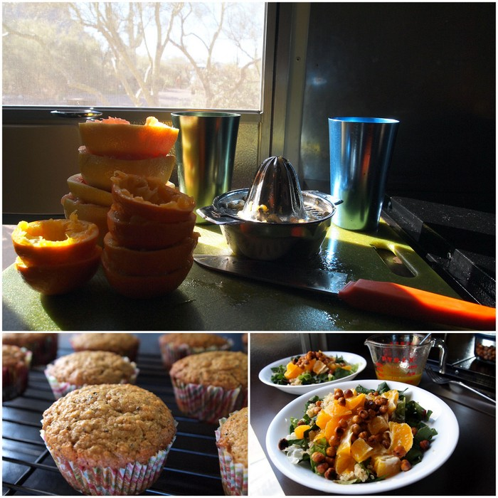 Fresh squeezed Grapefruit & Tangelo juice, Tangelo Chia Seed Muffins, Swiss Chard, Quinoa & Tangelo Salad