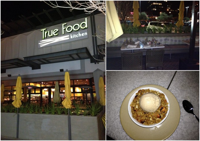 The True Food patio, Our table under the heat lamp, Amazing apple crisp with vegan ice cream!