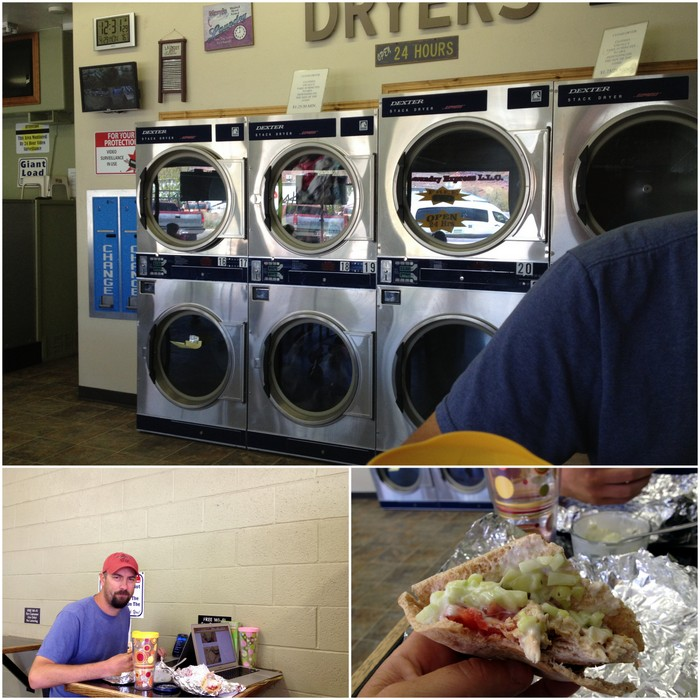 At the laundromat with our yummy lunch