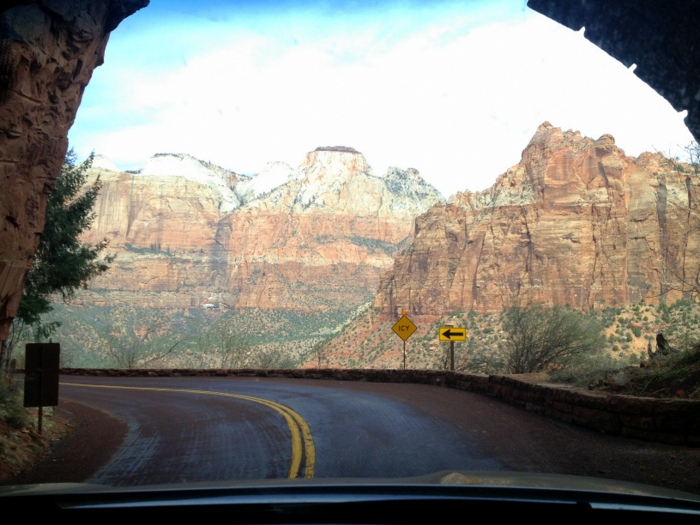 Exiting the Zion-Mt. Carmel tunnel