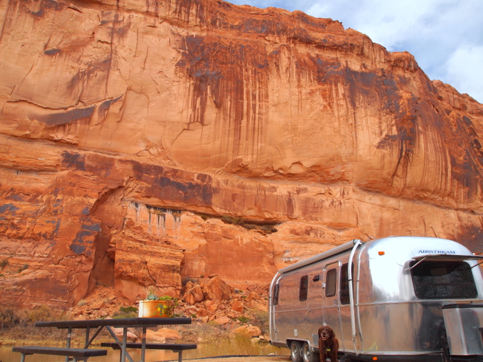 River, Cliff, Airstream, Dog- our spot at Goose Island Campground