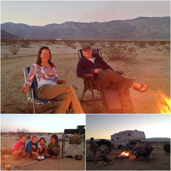 Shannon & Dominic, The girls enjoying their Jiffy Pop, Happy hour around the fire