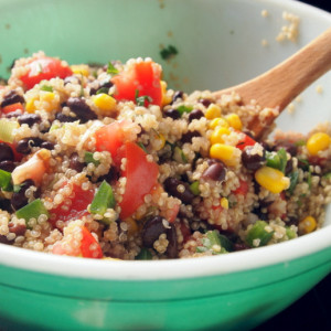 One of our favorite healthy meals - a quinoa, black bean & corn salad