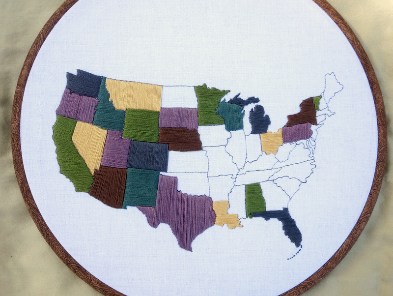 United States Travel Map Embroidery Kit WatsonsWander – Us Travel Map States