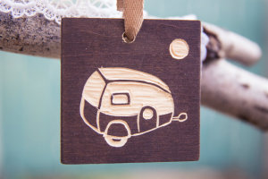 Trailer in Moonlight Woodblock Ornament