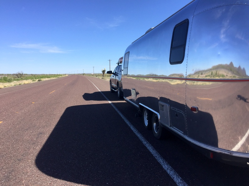 Airstream trailer with a tire blow out