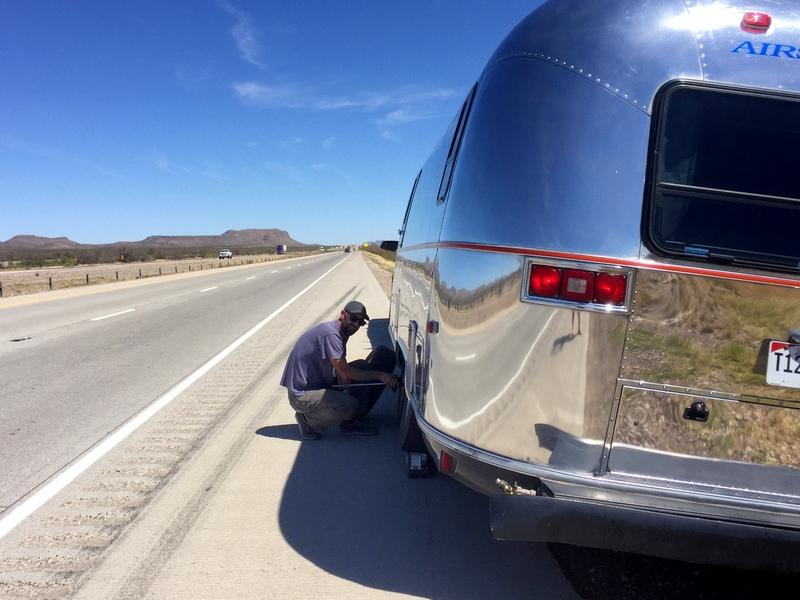 Airstream trailer on I-10